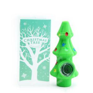1 PC Árvore de Natal Tubulação de Tabaco FDA Acessórios de Fumar Silicone com tubulação de tigela de vidro para presentes de Natal Navio grátis