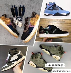 NEW! Travis Scott X 1 Low Cactus Jack Zipper running shoes Houston Oilers basketball shoe Medium Olive Polychrome Gold Toe sneaker