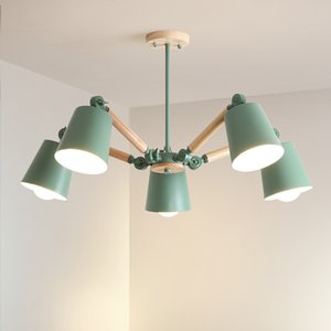 Adjustable Pendant Lights E27 Wooden Dining Light With Metal Lampshade Lustres Modern Hanging Lamp Suspension Lighting