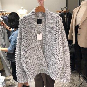 FMFSSOM Otoño Invierno de punto de lana caliente hueco sólido floja ocasional puntada abierta Mujer Mujeres suéter de las rebecas