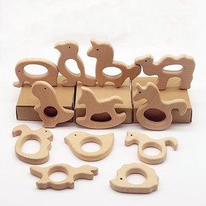Nature Baby Teething Toy dentição Titular Enfermagem Bebê mordedor elefante Chupetas Animais de madeira Teethers Organic Madeira Brinquedos BH0188
