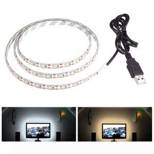 su geçirmez Aydınlatma TV Arka Plan için 5V 50cm 1M 2M 3M 4M 5M USB Kablosu Güç LED'i ışık şeridi lamba SMD 3528 yılbaşı masa Dekor lambası teyp