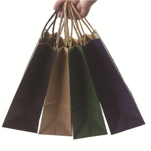 50PCS Fashionable kraft paper gift bag with handle shopping bags Christmas brown packing bag Excellent quality 21X15X8cm T200229