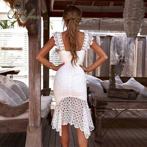 Ordifree 2020 Summer Women White Lace Party Dress Strap Sleeveless Sexy Bodycon Long Dress