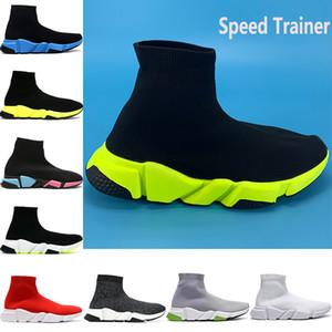 Nuevas camisas baratas entrenador de velocidad parís zapatos casuales calcetín negro universidad verde rojo triples blancos amarillentos hombres de la moda las mujeres zapatillas de deporte de Estados Unidos 6-12