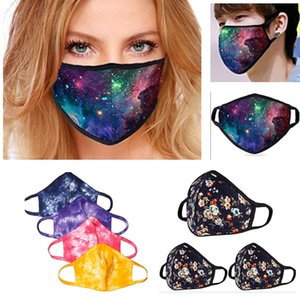 Moda 3D impresión de la galaxia de la mascarilla de la máscara Ciclismo flor de algodón a prueba de polvo al aire libre del paño de la boca para 3pcs lavable resuable / pack HH9-3164