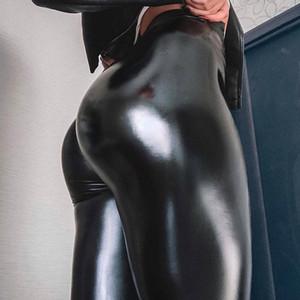 NORMOV 여성 레깅스 PU 가죽 바지 높은 허리 스키니 푸시 업 레깅스 섹시한 탄성 바지 스트레치 플러스 사이즈 Jeggings 소녀