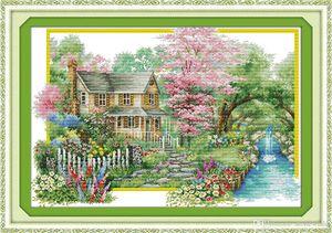 Цветы вилла декор дома картины, ручной вышивки крестом Вышивание Наборы подсчитывали печать на холсте DMC 14ct / 11CT