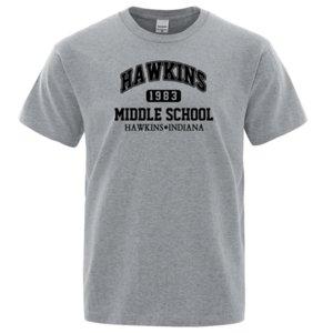 Странные вещи Hawkins High School тенниски Мужчина Punk Rock Fitness T Рубашки способ вскользь тройник рубашка Mens лето хлопок футболки