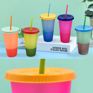 New 24oz 700ml Plastic Color Changing Cup PP Material Temperature Sensing Cups Magic Tumblers With Lid And Straw Drinking Mug Summer Fashion