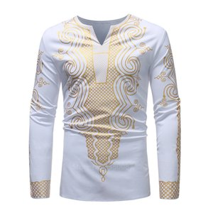 2020New Fashion African Dresses Clothes for Men Shirt Dashiki Hippie Luxury Banquet Bazin Riche Long Sleeve Traditional Blouse T200713