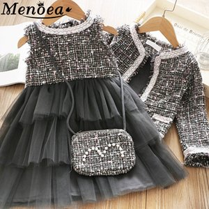 Menoea Kızlar Prenses Giyim Suits Kış Stili Çocuk Kız Parti Zarif Şirin Kız Kıyafet Çocuk Yün Giyim Setleri