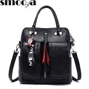 SMOOZA Women Leather Anti-theft Backpacks New Soid Color Shoulder Crossbody Bags Handbags Fashion School Bags For Girls