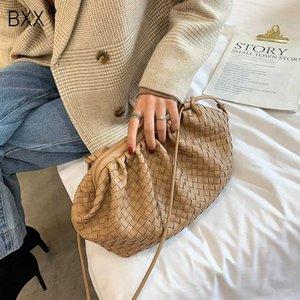 [BXX] Kadınlar 2020 Lady Tasarımcı Omuz Çantası Kadın Çanta için PU Deri Dokuma Crossbody Çanta Şık Debriyaj HJ404