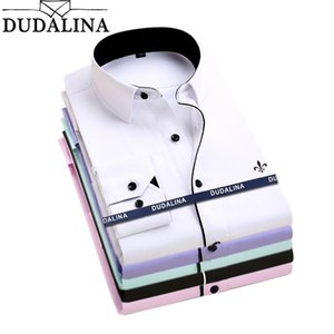 Dudalina Camisa Male Shirts Long Sleeve Men Shirt Brand Clothing Casual Slim Fit Camisa Social Striped Masculina Chemise Homme CX200801