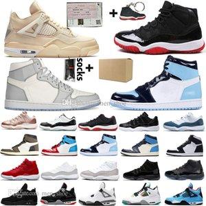 2020 Vela 4 4S Homens tênis de basquete 11S Concord UNC alta Destemido Travis Scotts Cactus Jack prata metálica Homens Mulheres Sports Sneakers Bred