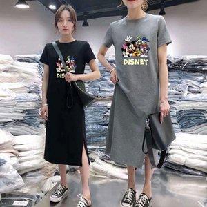 6Wbvp Jumpsuit Underpants Toptop Coat tişört kadın yaz 2020 yeni Kore tarzı moda orta boy diz boyu gevşek hal ins kısa kollu