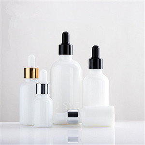 10pcs 10 ml 15 ml 20 ml 30 ml 50 ml 100 ml de perlas blanco botellas de suero de vidrio botella de aceite esencial botella envases de cosméticos con cuentagotas