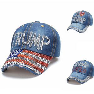 Donald Trump 2020 Hut Denim Diamant-Präsident Caps Baseball justierbare Hysteresen Frauen Männer Outdoor Sports Cap Party-Masken DHA7