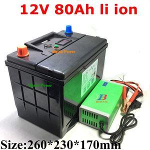 12V 80AH lithiun ion battery 12v li BMS 3S for chargeable inverter Solar golf cart camp medical instrume +10A Charger