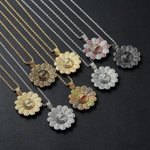 Men Hip hop Sun flower pendant necklaces Iced out bling Can rotatable fashion Charm Pendants Necklace jewelry