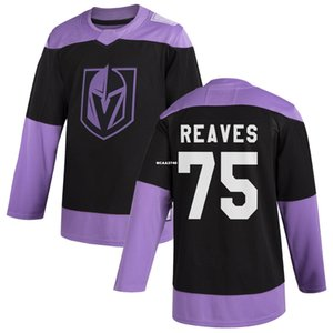 Vegas Golden Knights #75 Ryan Reaves Hockey Fights Cancer Custom Practice Jersey - Black or custom any name or number retro Jersey