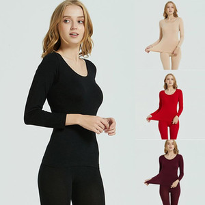 Femme 2020 sans couture élastique thermique-vêtement thermique Sous-vêtements sans couture solide élastique Ensemble hiver chaud pour femmes hauts Ropa mujer