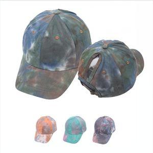 Stampa tie-dye cotone Cap Coda di cavallo sudici panini Trucker baseball protezione della visiera unisex estate del cappello di Snapback Adjustable DDA207
