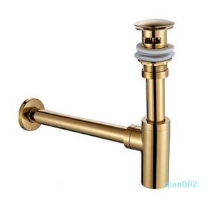 Badezimmer-Bassin-Wannen-Pop-up-Drain Messing Badzubehör Chrom / Gold / Öl geriebene Bronze-Bassin-Wannen-Hahn-Flaschen-Trap-Ablaufgarnitur SH190919