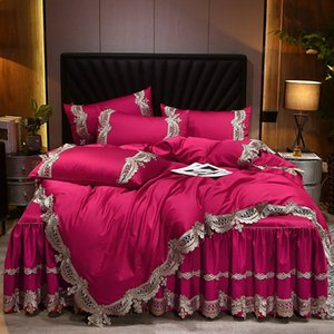 Europe Satin 100% Cotton Bedding Set Luxury Lace Queen King Size 4pcs Comforter Cover Set Pillow Cases Fitted Sheet Bedclothes