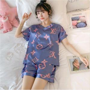 2020 verano nueva mujer de hielo pijama de verano de manga corta delgada grande de dibujos animados de seda casa el desgaste de dos piezas de juego extra linda
