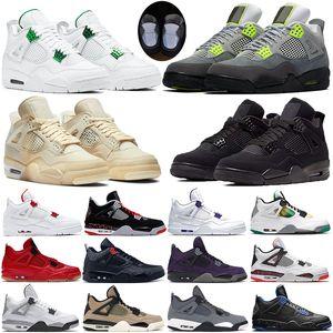 Neon metalik yeşil ovo Splatte yeni sürüm kara kedi kadın spor Sneakers Trainer yetiştirilen Yelken Basketbol Ayakkabı Jumpman Mens 4 4s yansıtıcı