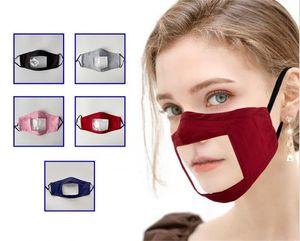 Sourds-muets masque transparent visage lavable impression réutilisable anti-poussière antibuée Earloop clair Designer Adultes et enfants DHC122