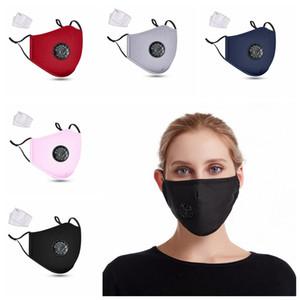 Máscara de respiração Válvula face Dustproof respirável algodão máscara protetora máscaras Unisex lavável reutilizável ciclismo com 2 Filtro Pad CCA12332