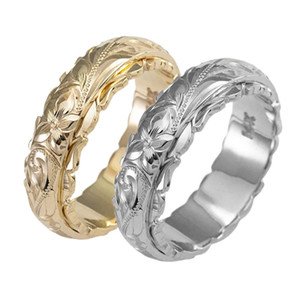 Изысканный WOMENS 14K Gold Ring Повесьте гравировкой кольцо цветка Юбилейные подарки невесты Обручальные кольца Обручальные Размер 5-11