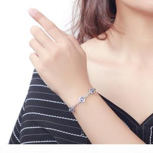 TONGZHE Round Blue Evil Eyes Crystal Tennis Bracelet 100% 925 Sterling Silver Women Men Lucky Hamsa Bracelet Jewelry
