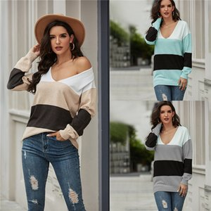 Fashion Leisure Style Sweaters Autumn Winter Women Designer Loose Knit Tees Vneck Striped Panelled Women Clothes