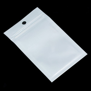 100PCS Small White Transparent Ziplock Poly Packaging Bag Hang Hole Clear Zip Lock Plastic Package Bags with Zipper Self Seal