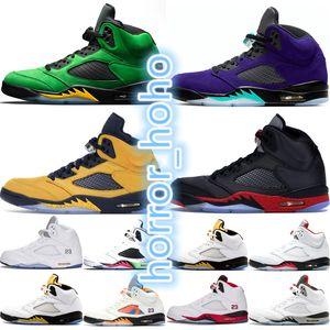 Jumpman nike air jordan retro 5 5s баскетбол обувь для мужчин Oregon Ducks Fab 5 SP Michigan Silk Бред Alternate Grape 2020 Огонь Красный Mens тренеров кроссовки