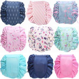 2018 Women Travel Magic Pouch Drawstring Cosmetic Bag Organizer Lazy Flamingo Make up Cases Beauty Toiletry Kit Tools Wash Storage wash bag