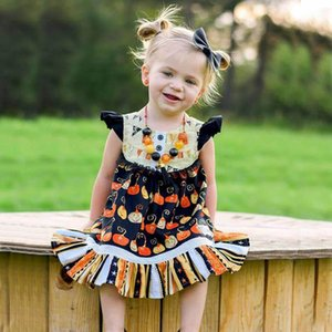 kids clothes girls Flying sleeve dress Halloween children pumpkin print Princess Dresses 2020 summer Boutique baby Clothing