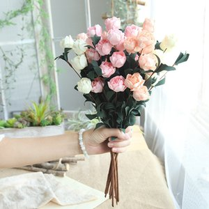 41cm Artificial PE Pink Silk Artificial Rose Flowers Bouquet 6 Heads Fake Flowers For Home Wedding & Party Garden Decoration