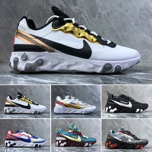 2019 React Element 87 Volt 55 Game Royal Taped Seams Running Shoes For Women men 55s Blue Chill Trainer 87s Sail Sports Sneakers CR7JK