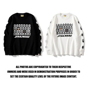H6706 High Quality Sweatshirts Tide brand shark head robot white warrior pullover sweater black & white M~2XL