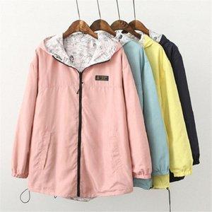 OLGITUM Mode Automne Printemps Veste Manteau poche zippée à capuchon Deux Porter Cartoon Side Imprimer Outwear en vrac # JK028 173M