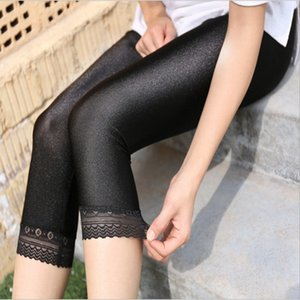 Women Calf Length Pants Lace Leggings Slim Solid Female Shiny Pants Mujer Simple Casual Elasticity Trousers Large Size S 5Xl