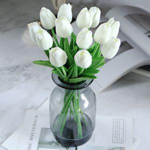 Fiore artificiale 10pcs tocco reale del lattice tulipani Bouquet da sposa casa Garen Decoration falsificazione fiore per i rifornimenti di nozze