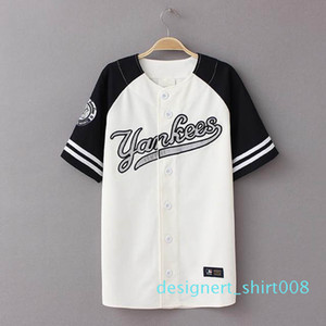 Wholesale-2016 New Summer Hip Hop Sports Fashion Baseball T shirt Korean style Loose Unisex Mens Womens Tee Tops Tide mujeres camiseta d08