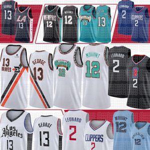 Kawhi 2 Maillots Leonard LosAngelesLAClippers Paul 13 George Ja 12 Morant MemphisGrizzliesNew Jersey Basketball