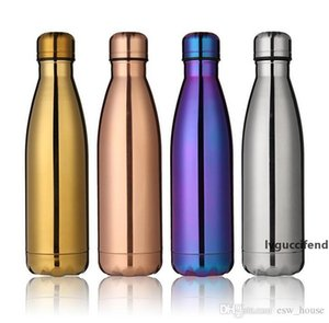 Cola Bottle Water Cup Insulation Mug 500ML Vacuum Bottle Sports 304 Stainless Steel Cola Bowling Shape Travel Mugs 4 Color Free DHL